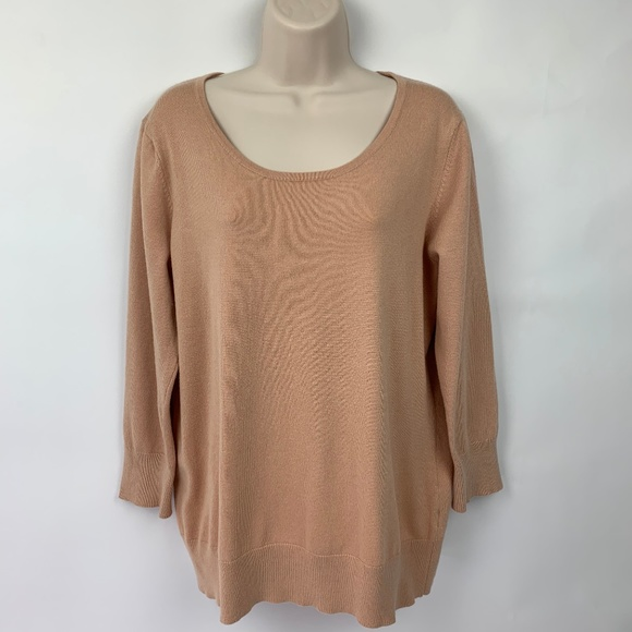 Cable & Gauge Sweaters - Cable & Gauge XL Top Knit Peach Scoop Neck